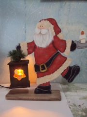 Papai noel luminaria, pintura country