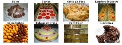 Bolos, tortas, cesta de pães, lanches de metro, salgadinhos, tabuas de frios, petit four e docinhos.