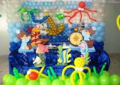 Decoração de marinheiro no fundo do mar