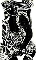 Mulher com anel, xilo, 18x33cm, 2005