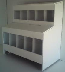 Box p/ ração 10 compartimentos - comp: 1,07 mt - alt: 1,15 mt - larg: 0,60cm
